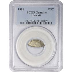 1881 Five-Cents. Hawaiian Nickel. Genuine – PCGS.