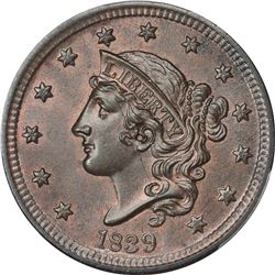 1839 N-9. Silly Head. Rarity-2. MS-66 BN PCGS. CAC.