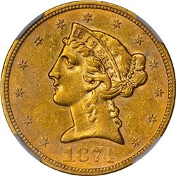 1874-S Faint Mintmark. AU-58 NGC.