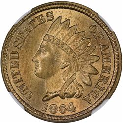 1864 Indian Cent. Judd-356b. Copper-Nickel. Rarity-7. MS-65 NGC.