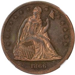 1866 Dollar. With Motto. Judd-541. Copper. Rarity-6. Proof-64 RB NGC.