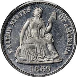 1869 Half Dime. Judd-693. Aluminum. Rarity-7. Proof-66 PCGS. CAC. OGH.