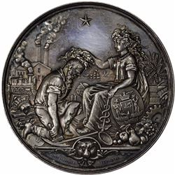 Undated (1876) Mechanics' Institute Industrial Exhibition Medal. Silver. 76 mm. Dies by A. Demarest,