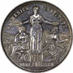 1886 Mechanics' Institute San Francisco Silver Medal. Awarded. 49 mm. Nearly as Struck.