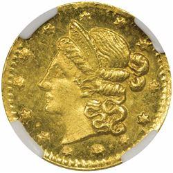 1853 Round ¼ Dollar, BG-214. UNC Details, Rev. Planchet Flaw NGC.