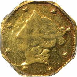 1853 DERI Octagonal 1 Dollar, BG-518. Die State II (obverse cracked from bust point to rim). Genuine
