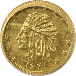 California Round Series ¼ 1871 Indian. MS67 NGC.
