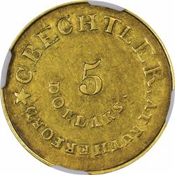 August 1, 1834. C. Bechtler $5 Gold. Kagin-17. Rarity-5. With 140 G, No Beads. Plain Edge. AU-55 NGC