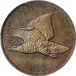 1856 Flying Eagle cent. Snow-9. PR65 PCGS (CAC - Eagle Eye Photo Seal). Gem Proof (13: 3,5,5).