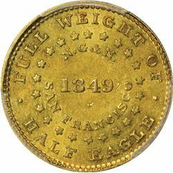 1849 Norris, Gregg & Norris Gold $5. Kagin-4. Period after ALLOY. Rarity-4. MS-62 PCGS.