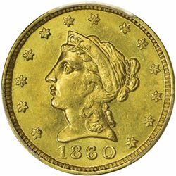 1860 Clark, Gruber & Co. Gold $2.50. Kagin-1. Rarity-4. MS-65 PCGS.