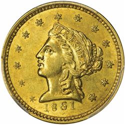 1861 Clark, Gruber & Co. Gold $2.50. Kagin-5. Rarity-4. MS-63 PCGS.