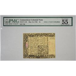 CT-145. May 12, 1763. 5 Shillings Colonial Note. PMG About Uncirculated 55.