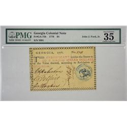 GA-75b. 1776. $4 Colonial Note. PMG Choice Very Fine 35.