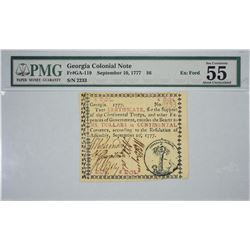 GA-119. September 10, 1777. $6 Colonial Note. PMG About Uncirculated 55.