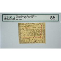 MA-283. May 5, 1780. $7 Colonial Note. PMG Choice About Uncirculated 58.