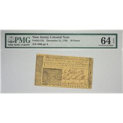 NJ-153. December 31, 1763. 18 Pence Colonial Note. PMG Choice Uncirculated 64 EPQ.