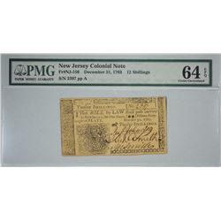 NJ-156. December 31, 1763. 12 Shillings Colonial Note. PMG Choice Uncirculated 64 EPQ.