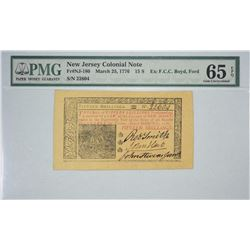 NJ-180. March 25, 1776. 15 Shillings Colonial Note. PMG Gem Uncirculated 65 EPQ.