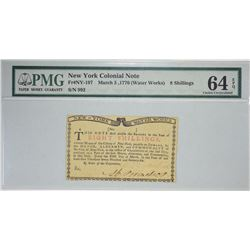 NY-197. March 6, 1776. Water Works. 8 Shillings Colonial Note. PMG Choice Uncirculated 64 EPQ.