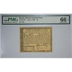 RI-284. July 2, 1780. $3 Colonial Note. PMG Gem Uncirculated 66 EPQ.