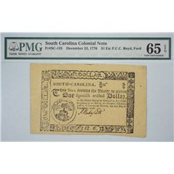 SC-135. December 23, 1776. $1 Colonial Note. PMG Gem Uncirculated 65 EPQ. Remainder.