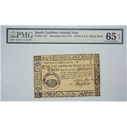 SC-137. December 23, 1776. $3 Colonial Note. PMG Gem Uncirculated 65 EPQ. Remainder.