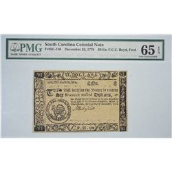 SC-140. December 23, 1776. $6 Colonial Note. PMG Gem Uncirculated 65 EPQ. Remainder.