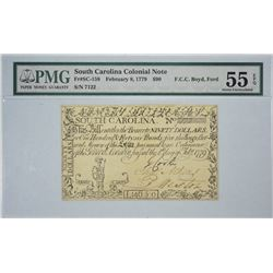 SC-158. February 8, 1779. $90 Colonial Note. PMG About Uncirculated 55 EPQ.