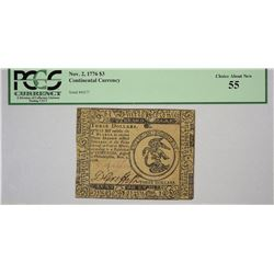CC-48. November 2, 1776. $3 Continental Currency. PCGS Choice About New 55.