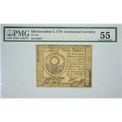 CC-54. November 2, 1776. $30 Continental Currency. PMG About Uncirculated 55.