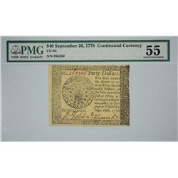 CC-84. September 26, 1778. $40 Continental Currency. PMG About Uncirculated 55.