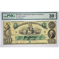 T-6, PF-1. 1861 $50 Confederate Note. PMG Very Fine 30 Net. Previously Mounted.