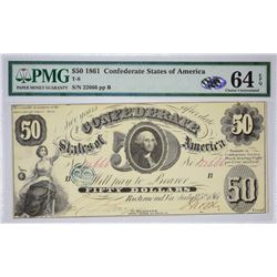 T-8, PF-2. 1861 $50 Confederate Note. PMG Choice Uncirculated 64 EPQ.