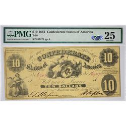 T-10, PF-16. 1861 $10 Confederate Note. PMG Very Fine 25.
