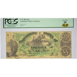 T-17, PF-2. 1861 $20 Confederate Note. PCGS Very Fine 20.