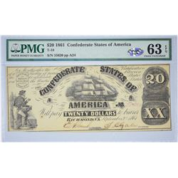 T-18, PF-20. 1861 $20 Confederate Note. PMG Choice Uncirculated 63 EPQ.