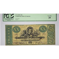 T-21, PF-3. 1861 $20 Confederate Note. PCGS Very Fine 20.