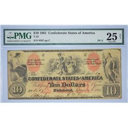 T-22, PF-2. 1861 $10 Confederate Note. PMG Very Fine 25 Net. Previously Mounted.