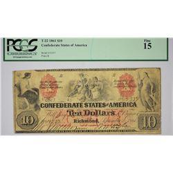 T-22, PF-1. 1861 $10 Confederate Note. PCGS Fine 15.