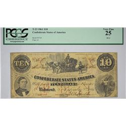 T-23, PF-2. 1861 $10 Confederate Note. PCGS Very Fine 25.