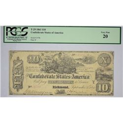 T-29, PF-1. 1861 $10 Confederate Note. PCGS Very Fine 20.