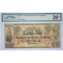 T-31, PF-1. 1861 $5 Confederate Note. PMG Very Fine 20 Net. Paper Pulls.