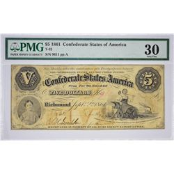 T-32, PF-1. 1861 $5 Confederate Note. PMG Very Fine 30.