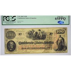 T-41, PF-12. 1862 $100 Confederate Note. PCGS Gem New 65 PPQ.