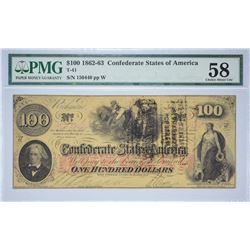 T-41, PF-8. 1862 $100 Confederate Note. PMG Choice About Uncirculated 58.