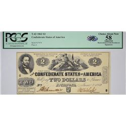 T-42, PF-2. 1862 $2 Confederate Note. PCGS Choice About New 58 Apparent, Restorations of Ink Erosion