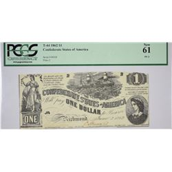 T-44, PF-3. 1862 $1 Confederate Note. PCGS New 61.