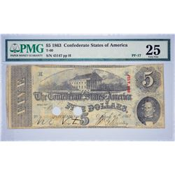 T-60, PF-17. 1863 $5 Confederate Note. PMG Very Fine 25.