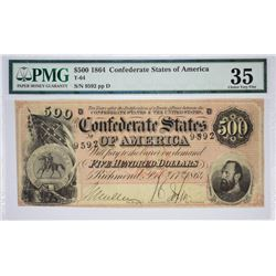 T-64, PF-2. 1864 $500 Confederate Note. PMG Choice Very Fine 35.